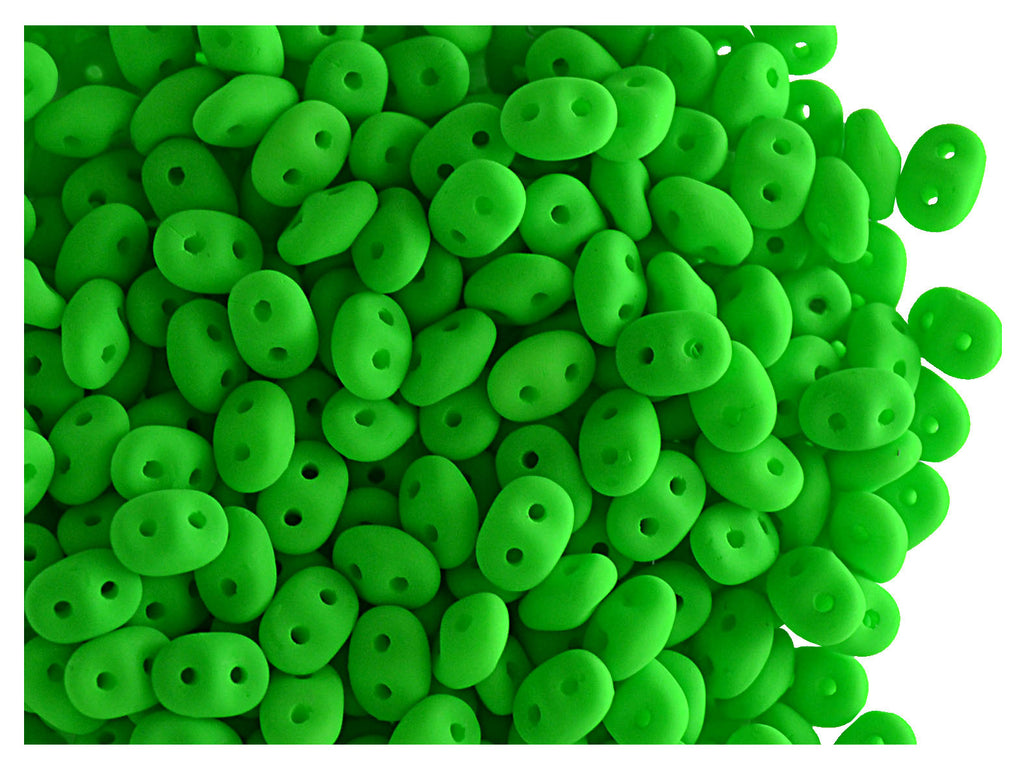 10 g 2-hole SuperDuo Seed Beads, 2.5x5mm, NEON Green, Czech Glass