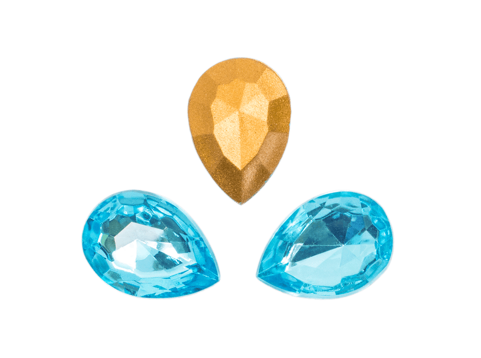 1 pc Imitation Crystal Stone Teardrop, 18x13mm, Aquamarine, One Side Gold Foiled, Czech Glass