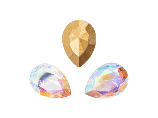 1 pc Imitation Crystal Stone Teardrop, 18x13mm, Crystal AB, One Side Gold Foiled, Czech Glass