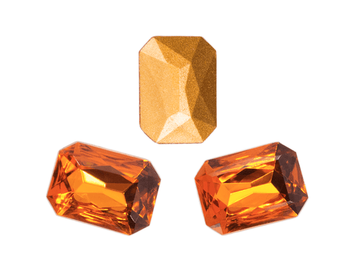 1 pc Imitation Crystal Stone Rectangle Octahedral, 18x13mm, Topaz, One Side Gold Foiled, Czech Glass