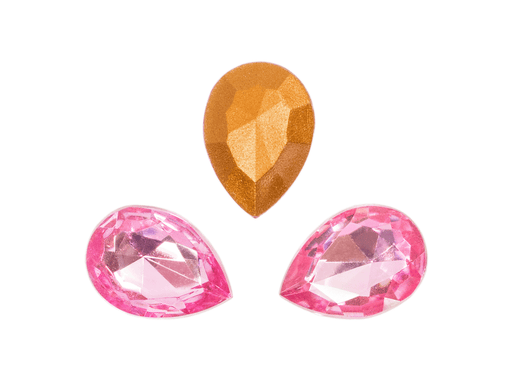 1 pc Imitation Crystal Stone Teardrop, 18x13 mm, Light Pink, One Side Gold Foiled, Czech Glass
