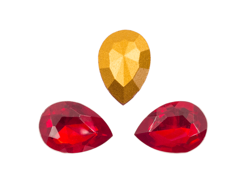 1 pc Imitation Crystal Stone Teardrop, 18x13 mm, Ruby Red, One Side Gold Foiled, Czech Glass