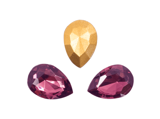 1 pc Imitation Crystal Stone Teardrop, 18x13 mm, Amethyst, One Side Gold Foiled, Czech Glass