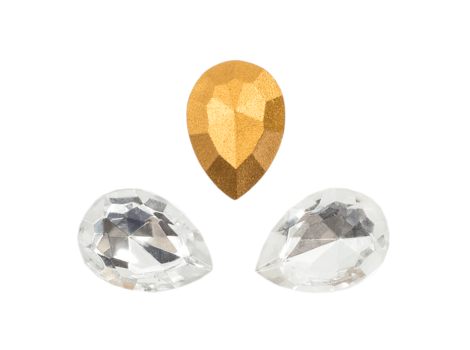 1 pc Imitation Crystal Stone Teardrop, 18x13 mm, Crystal Clear, One Side Gold Foiled, Czech Glass