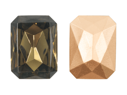 1 pc Imitation Crystal Stone Rectangle Octahedral, 30x22mm, Black Diamond, One Side Gold Foiled, Czech Glass