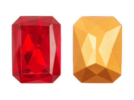 1 pc Imitation Crystal Stone Rectangle Octahedral, 30x22mm, Ruby, One Side Gold Foiled, Czech Glass