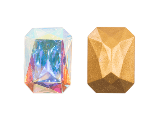 1 pc Imitation Crystal Stone Rectangle Octahedral, 25x18mm, Crystal AB, One Side Gold Foiled, Czech Glass