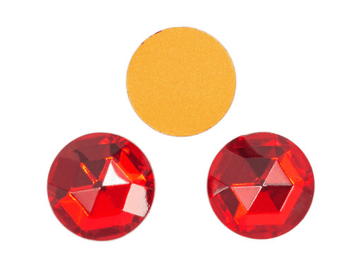 1 pc Imitation Crystal Stone Round, 18mm, Ruby Red, One Side Gold Foiled, Czech Glass