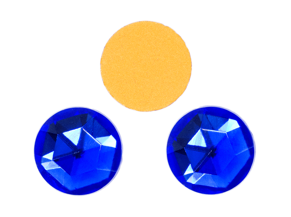1 pc Imitation Crystal Stone Round, 18mm, Sapphire, One Side Gold Foiled, Czech Glass