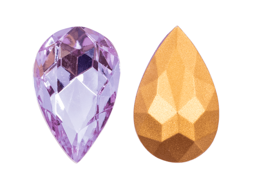 1 pc Imitation Crystal Stone Teardrop, 32x20mm, Alexandrite, One Side Gold Foiled, Czech Glass