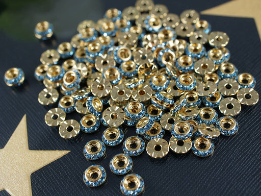 2 pcs Swarovski Elements Rondelles, 8mm, Aquamarine Gold, Czech Glass