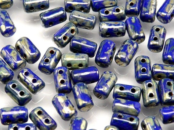 20 g Rulla Seed Beads 3X5mm with Two Holes, Czech Glass, Opaque Blue Picasso