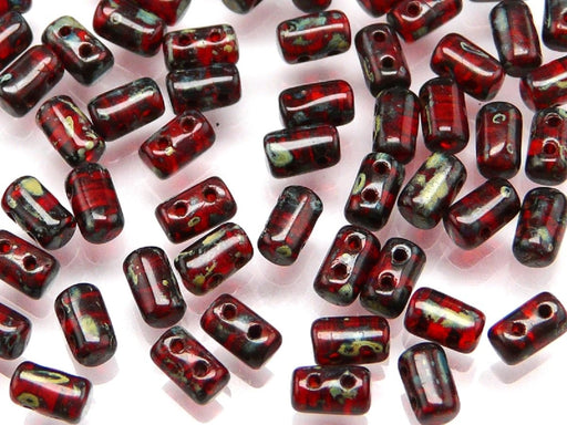 Rulla Beads 3x5 mm, 2 Holes, Ruby Travertine Dark, Czech Glass