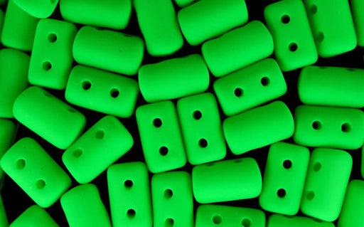 10 g 2-hole Rulla™ Seed Beads, 3x5mm, NEON Green, Czech Glass