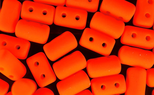 10 g 2-hole Rulla™ Seed Beads, 3x5mm, NEON Orange, Czech Glass