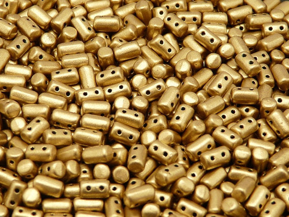 20 g 2-hole Rulla™ Seed Beads, 3x5mm, Crystal Bronze Pale Gold (Aztec Gold), Czech Glass