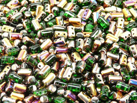 20 g 2-hole Rulla™ Seed Beads, 3x5mm, Chrysolite Sliperit, Czech Glass