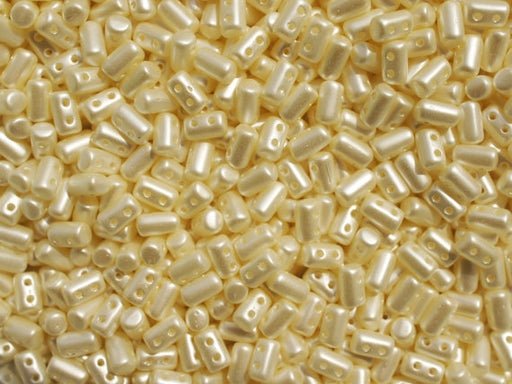 10 g 2-hole Rulla™ Seed Beads, 3x5mm, Pastel Light Cream, Czech Glass