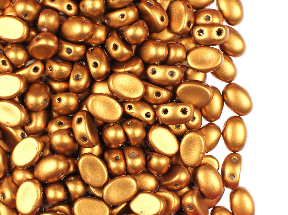 25 pcs Samos® Par Puca® Beads 5x7x3.1mm 2-Hole, Czech Glass, Crystal Bronze Gold Matte