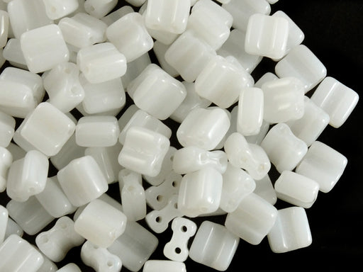 30 pcs 2-hole Silky Beads Block, 6x6mm, White Alabaster, Czech Glass