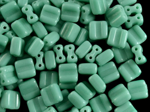 30 pcs 2-hole Silky Beads Block, 6x6mm, Opaque Turquoise Green, Czech Glass