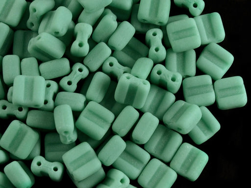 30 pcs 2-hole Silky Beads Block, 6x6mm, Opaque Turquoise Green Matte, Czech Glass