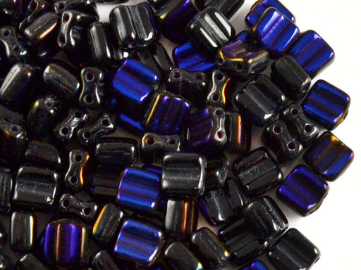 30 pcs 2-hole Silky Beads Block, 6x6mm, Jet Black Half Azuro, Czech Glass