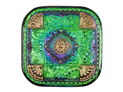 1 pc Czech Glass Button Square 33x33 mm Hand Painted, Purple Green Vitrail Gold, Czech Glass