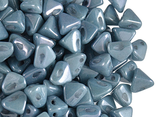 50 pcs Super Khéops® Par Puca® 2-hole Beads, 6mm, Opaque Blue Ceramic Look, Czech Glass