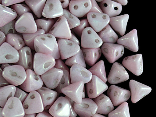 50 pcs Super Khéops® Par Puca® 2-hole Beads, 6mm, Opaque Light Pink Ceramic Look, Czech Glass