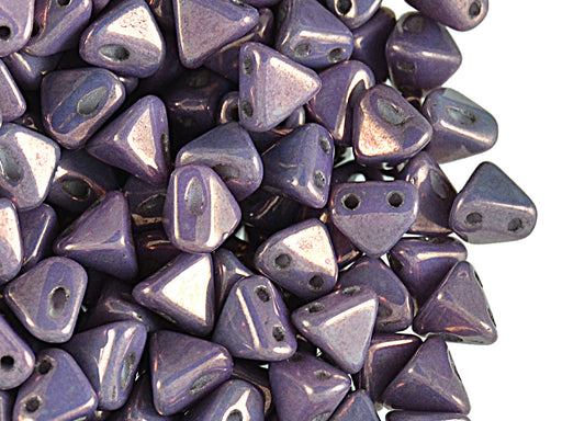50 pcs Super Khéops® Par Puca® 2-hole Beads, 6mm, Opaque Mix Amethyst/Gold Ceramic Look, Czech Glass