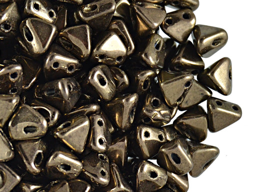 50 pcs Super Khéops® Par Puca® 2-hole Beads, 6mm, Dark Gold Bronze, Czech Glass