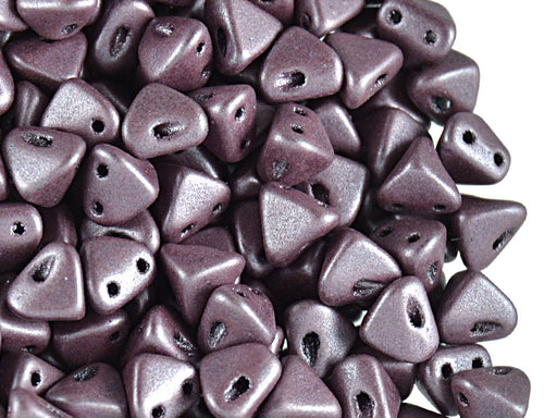 50 pcs Super Khéops® Par Puca® 2-hole Beads, 6mm, Metallic Matte Dark Plum, Czech Glass