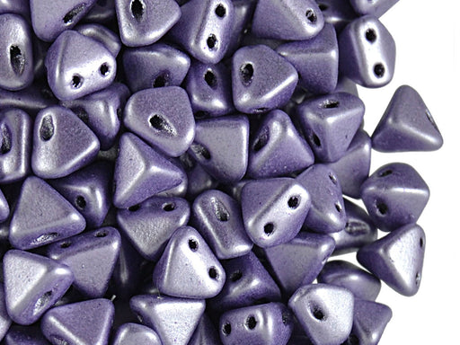 50 pcs Super Khéops® Par Puca® 2-hole Beads, 6mm, Metallic Matte Purple, Czech Glass