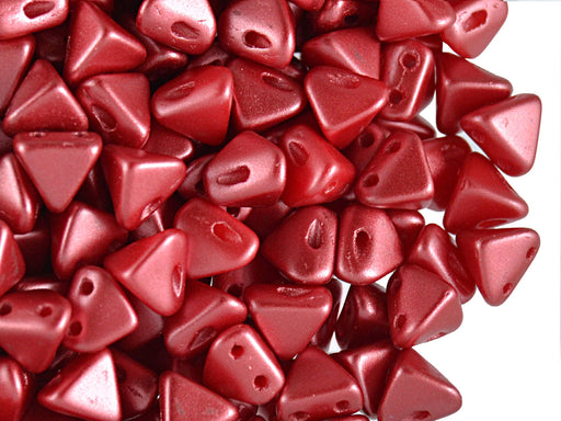 50 pcs Super Khéops® Par Puca® 2-hole Beads, 6mm, Pastel Dark Coral, Czech Glass