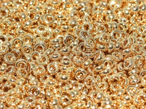Spacer Beads 2.2x1 mm, 24KT Gold Light Plated, Miyuki Japanese Beads
