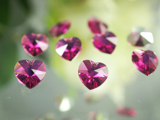 2 pcs Swarovski Elements 6202 Crystal Heart Pendant, 10.3x10mm, Fuchsia AB, Czech Glass