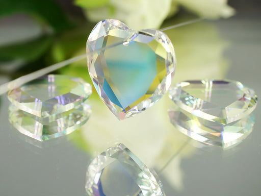 1 pc Swarovski Elements 6225 Flat Heart Pendant, 28mm, Crystal AB, Czech Glass