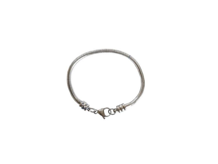 Bracelet with Lobster Clasp snake with screw end 3x19 mm, Stainless Steel, Czech Republic