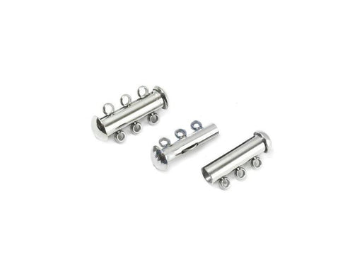 Clasp, 3-strand slide lock 19x9 mm, Stainless Steel, Czech Republic