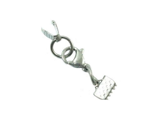 Set Ribbon Crimp Ends And Lobster Clasp 30x6 mm, Stainless Steel, Czech Republic
