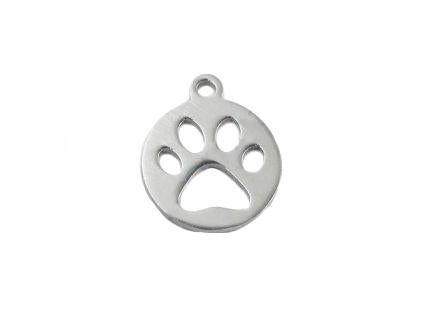 Pendant - paw 12 mm, Shank, Stainless Steel, Czech Republic