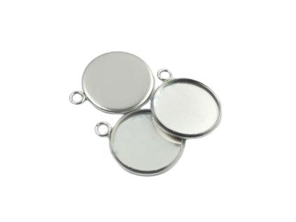 Pendant round with eyelet 20 mm, Stainless Steel, Czech Republic