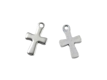 1 pc Pendant - cross 12x7 mm, Stainless Steel, Czech Republic