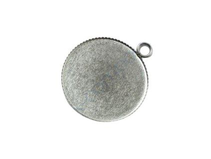 Pendant round with eyelet 25 mm, Stainless Steel, Czech Republic