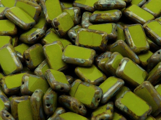 10 pcs Table Cut Beads Rectangle, 12x8mm, Green Travertine, Czech Glass