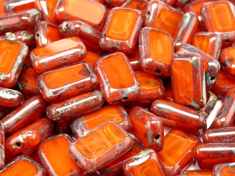 10 pcs Table Cut Beads Rectangle, 12x8mm, Orange Travertine, Czech Glass