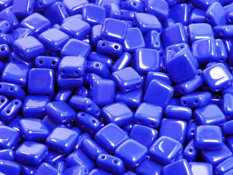 2-hole Tile Pressed Beads, 6x6x3mm, Opaque Blue, Czech Glass