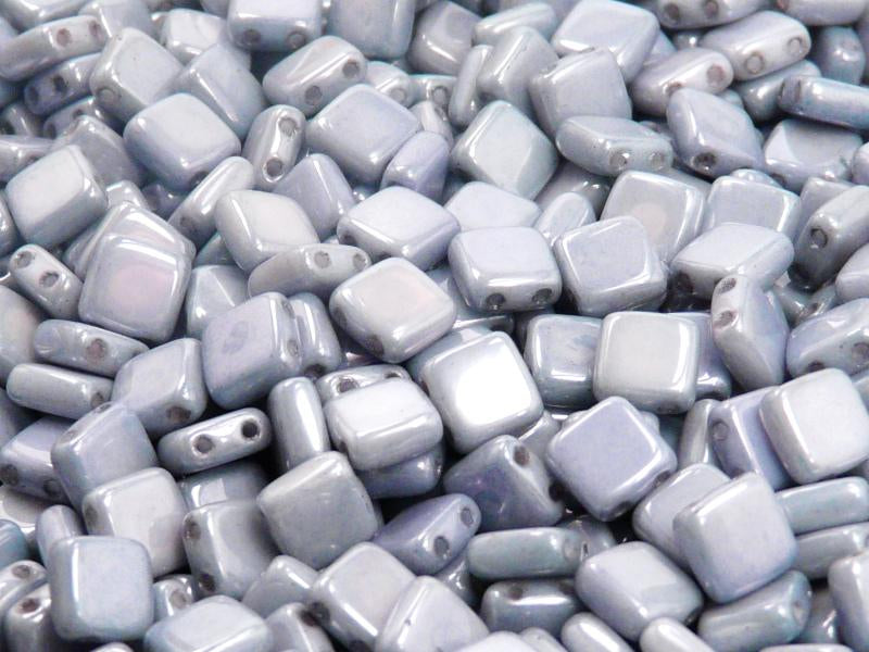 40 pcs 2-hole Tile Pressed Beads, 6x6x3mm, Opaque Chalk White Blue Luster, Czech Glass