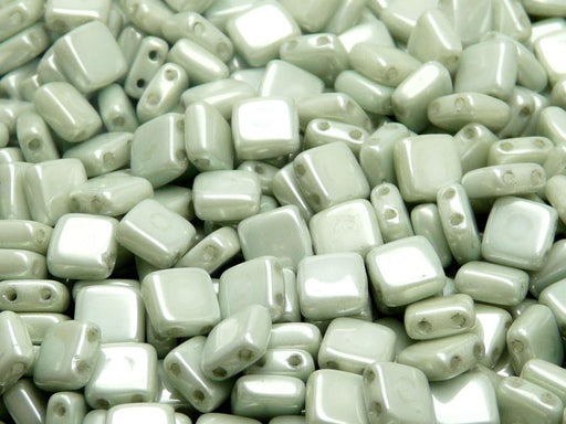 40 pcs 2-hole Tile Pressed Beads, 6x6x3mm, Opaque Chalk White Light Green Luster, Czech Glass